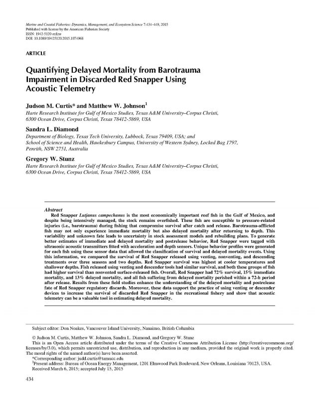 Curtis et al 2015 Quantifying Delayed Mortality from Barotrauma Impairment in Discarded Red Snapper Using Acoustic Telemetry