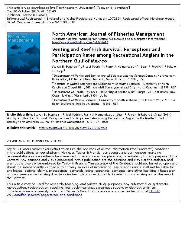 Venting and Reef Fish Survival: Perceptions and Participation Rates among Recreational Anglers in the Northern Gulf of Mexico (Scyphers et al. 2013)